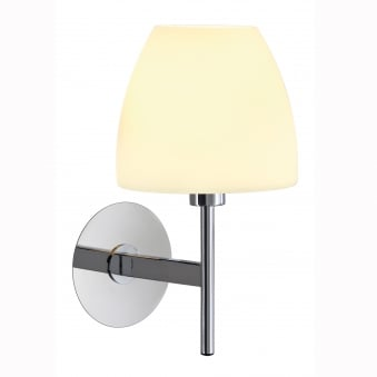 Riotte Wall Lamp in Chrome with a White Satin Shade