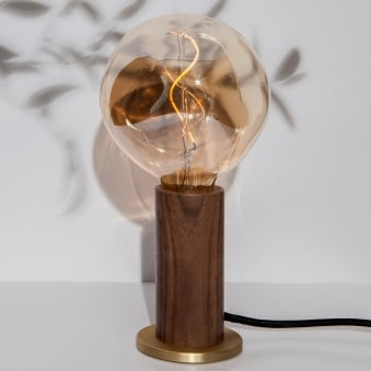Walnut and Brass Touch Lamp with 3 Stage Dimming