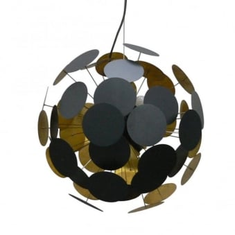 Dots Black and Gold 6 Light Pendant